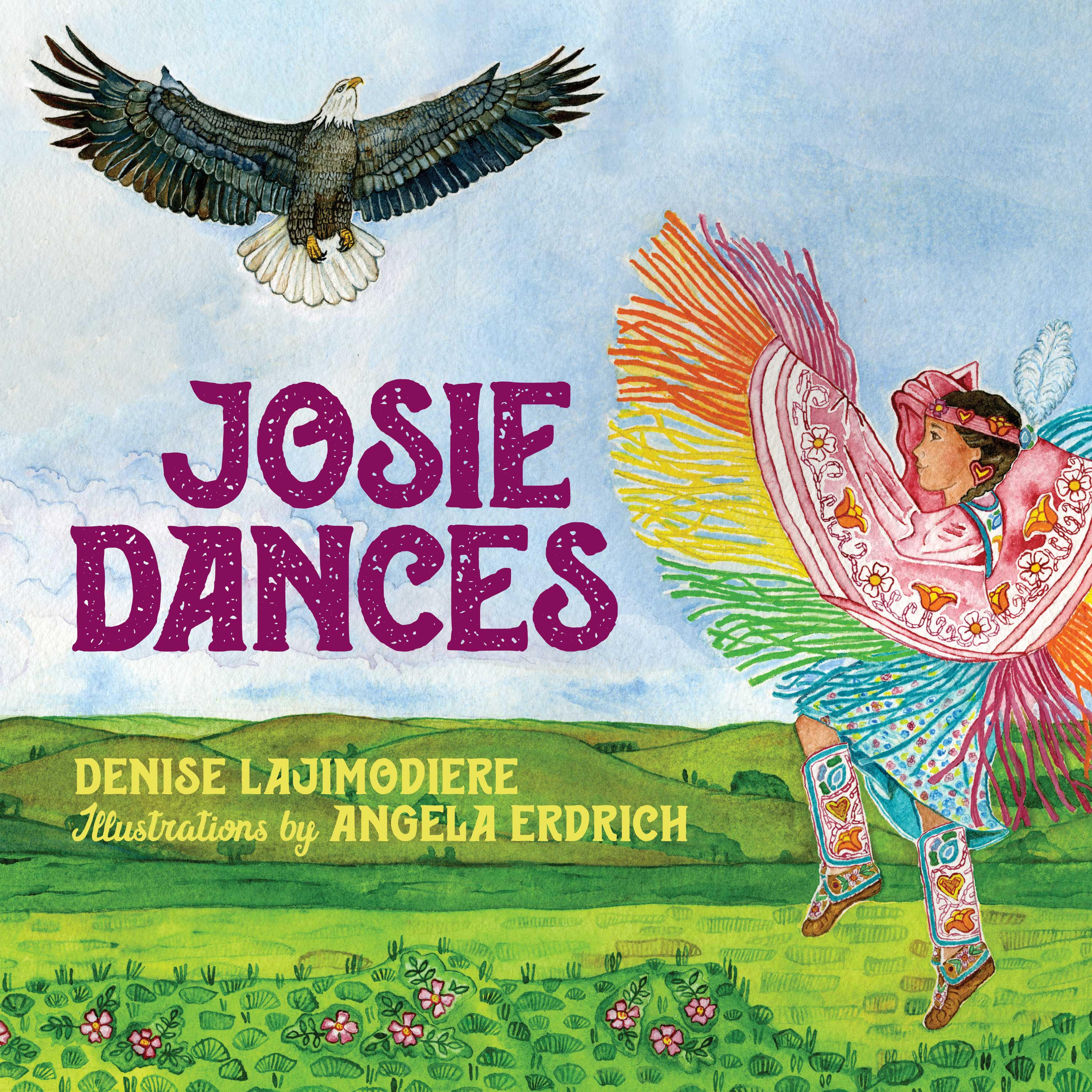 An Ojibwe girl practices her dance steps, gets help from her family, and is inspired by the soaring flight of Migizi, the eagle, as she prepares for her first powwow. Josie dreams of dancing at next summer's powwow. But first she needs many special things: a dress, a shawl, a cape, leggings, moccasins, and, perhaps most important of all, her spirit name. To gather all these essential pieces, she calls on her mom, her aunty, her kookum, and GrandmaGreatwalker. They have the skills to prepare Josie for her powwow debut. As the months go by, Josie practices her dance steps while Mom stitches, Aunty and Kookum bead, and GrandmaGreatwalkerdreams Josie's spirit name. Josie is nervous about her performance in the arena and about all the pieces falling into place, but she knows her family is there to support her. The powwow circle is a welcoming space, and dancers and spectators alike celebrate Josie's first dance. When she receives her name, she knows it's just right. Wrapped in the love of her community, Josie dances to honor her ancestors. In this Ojibwe girl's coming-of-age story, Denise Lajimodiere highlights her own daughter's experience at powwow. Elegant artwork by Angela Erdrich features not only Josie and her family but also the animals and seasons and heartbeat of Aki, Mother Earth, and the traditions that link Josie to generations past and yet to come. Denise Lajimodiereis a retired associate professor of educational leadership at North Dakota State University living in a cozy cottage by a lake on the Turtle Mountain Reservation. Fine artistAngela Erdrichis a pediatrician practicing in the Twin Cities. Both are citizens of the Turtle Mountain Band of Chippewa. Related Videos: Native American Artist-in-Residence: Denise Lajimodiere Artist in the Gallery: A Conversation with Denise Lajimodiere Available May 2021 from Minnesota Historical Society Press $16.95 hardcover, ISBN: 978-1-68134-207-8 32 pages,10 x 10 inches,Fully Illustrated, Glossary, Ages 3-7